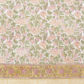 green, yellow and pink floral block print tablecloth mews furnishings