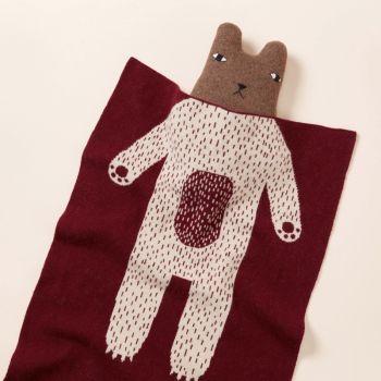 Lambswool Cotton Soft Baby Blanket Burgundy Bear