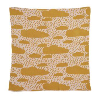 Lambswool Cotton Soft Baby Blanket Rain Clouds Mustard Yellow