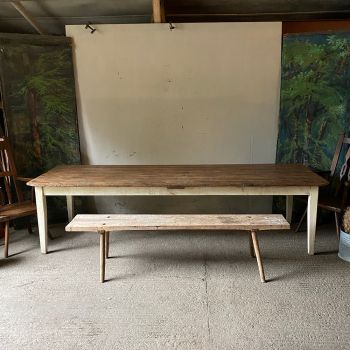 large and wide scrub top pine farmhouse kitchen table