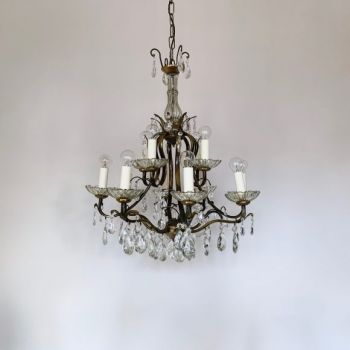 1920S English Crystal Tent & Bag Chandelier