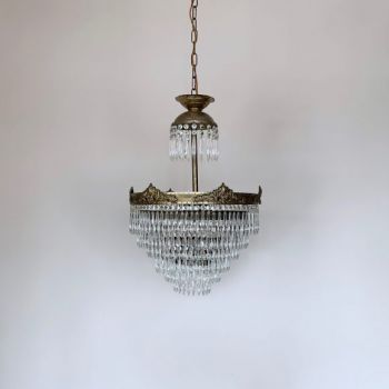 Early 1900s Large French Brass Waterfall Chandelier