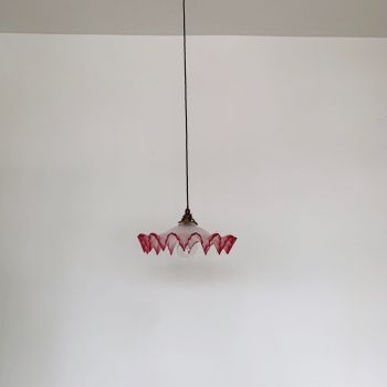Large French Frosted & Cranberry Glass Shade