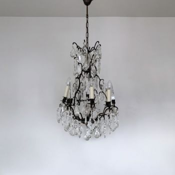 A Pair of French 1950s Pendant Chandeliers with Clear Floral Shades