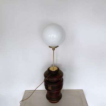 Large Turned Wood Lamp With Brass Stem And Opaline Shade