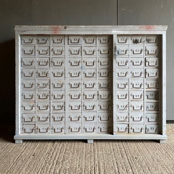 Large Vintage Bank Of Pine Drawers In Original Grey Paint