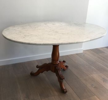 Large Cherrywood Gueridon With Oval White Marble Top