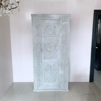 Late 19th Century French Hand Carved Oak Painted Armoir