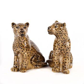 Leopard Sale and Pepper Shakers Quail Ceramics