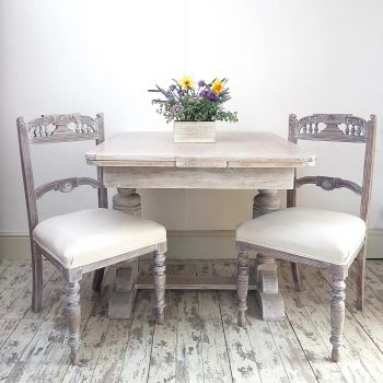 Limed Provincial French Style Table & 4 Chairs