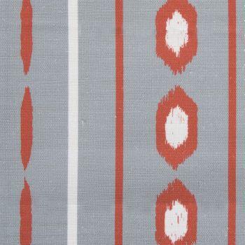 'Ikat' Geometric Stripes Designer Fabric in Stone & Raspberry