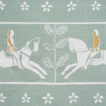'Journeyman' Horse Designer Fabric in Duck Egg