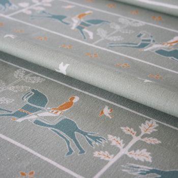 'Journeyman' Horse Designer Fabric in Elephant Grey