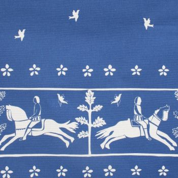 'Journeyman' Horse Designer Fabric in Lapis Blue