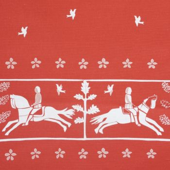 'Journeyman' Horse Designer Fabric in Raspberry