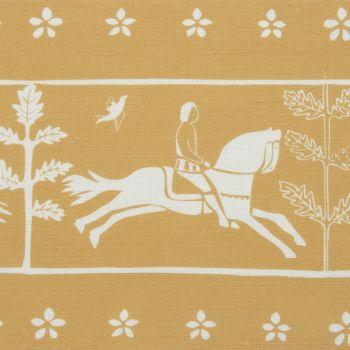 'Journeyman' Horse Designer Fabric in Yellow Ochre