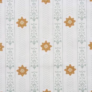 'Valencia' Floral Leaf Designer Fabric in Duck Egg & Yellow Ochre