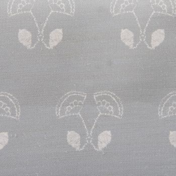 'Floral Duet' Flower Motif Designer Fabric in Stone Grey