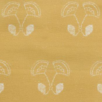 'Floral Duet' Flower Motif Designer Fabric in Yellow Ochre