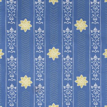 'Valencia' Floral Leaf Designer Fabric in Lapis Blue