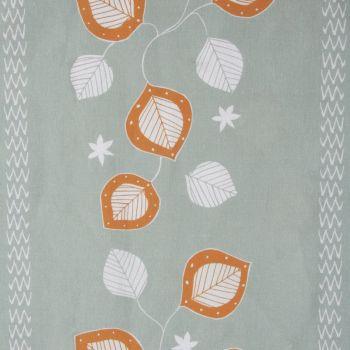 'Moresca' Summer Leaf Designer Fabric in Elephant & Orange