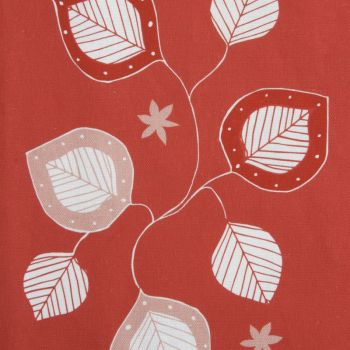 'Moresca' Summer Leaf Designer Fabric in Raspberry