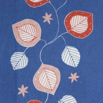 'Moresca' Summer Leaf Designer Fabric in Lapis Blue