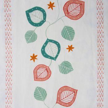 'Moresca' Summer Leaf Designer Fabric in Natural Tones