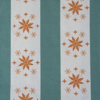 'Arista' Summer Stripe Designer Fabric in Teal & Orange