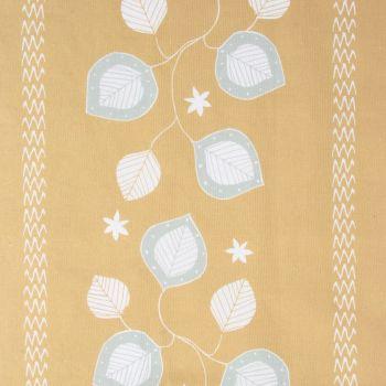 'Moresca' Summer Leaf Designer Fabric in Yellow Ochre
