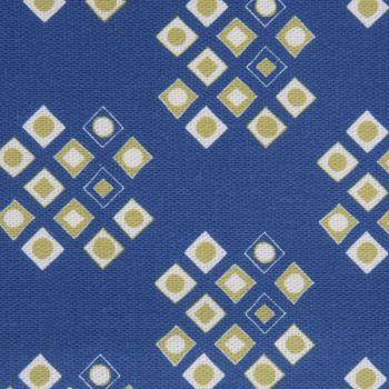'Pilgrim' Diamond Pattern Designer Fabric in Lapis & Lime