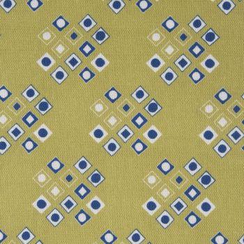 'Pilgrim' Diamond Pattern Designer Fabric in Lime & Lapis