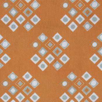'Pilgrim' Diamond Pattern Designer Fabric in Orange Ochre
