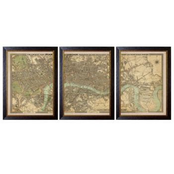 C.1827 London Triptych Map Print