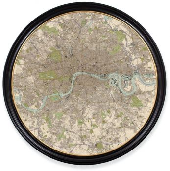 C.1905 Vintage Map of London Print with Round Frame