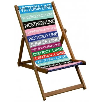 Vintage Style Deckchair with 'All The Lines' Design Sling
