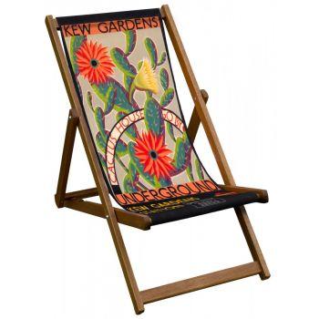 Vintage Style Deckchair with Kew Cactus Design Sling