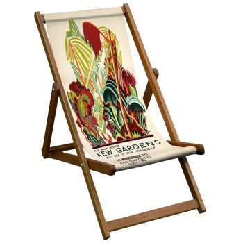 Vintage Style Deckchair with Palm House Design Sling