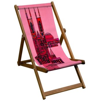 Vintage Style Deckchair with Pink Sightseeing Design Sling
