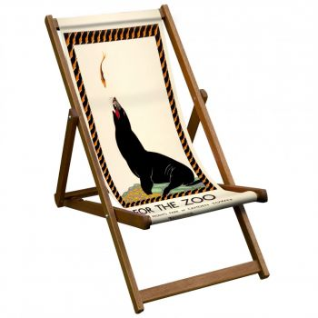 Vintage Style Deckchair with 'For The Zoo' Seal Design Sling