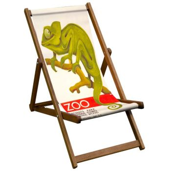 Vintage Style Deckchair with Chameleon Zoo Design Sling