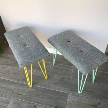 Harris Tweed Bench Stools