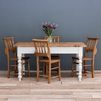5ft Oak Farmhouse Kitchen Table with Turned Legs