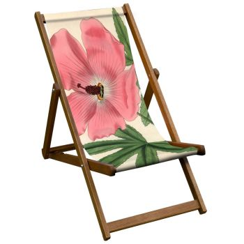 Vintage Style Deckchair with Splendid Hibiscus Botanical Design Sling