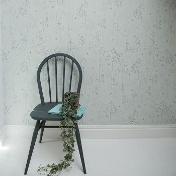 Meadow Grass Wallpaper Roll in Blue & Silver Main