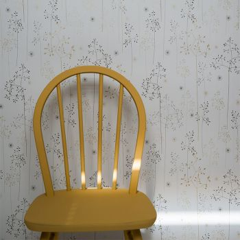 Meadow Grass Wallpaper Roll in Grey & Gold Main
