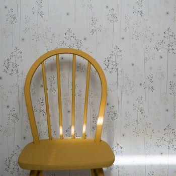 Meadow Grass Wallpaper Roll in Grey & Gold Main