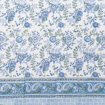blue and green floral block print cotton tablecloth mews furnishings