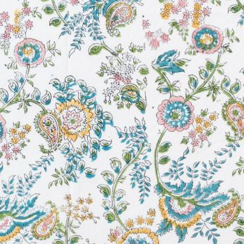 floral pink and blue block print cotton tablecloth mews furnishings