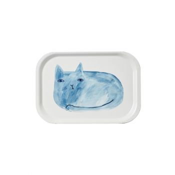 Melamine Gloss Serving Tray Watercolour Painted Cat Blue